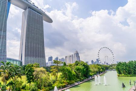 Singapore, Singapore - 31 March, 2018: The beautiful view of Singapore Marina bay buildings. Editorial