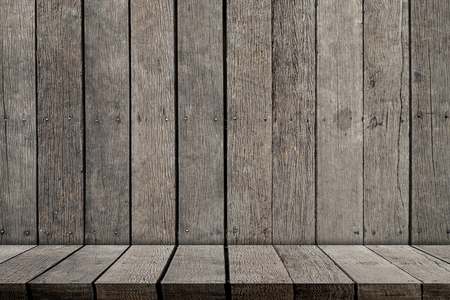 empty wooden shelf on wooden wall for product display Stock fotó