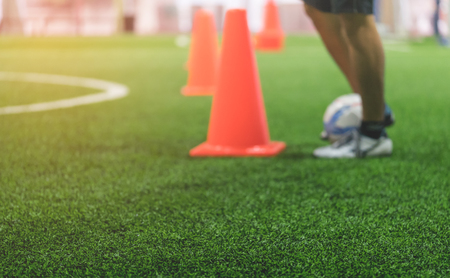 Indoor soccer training field blur abstract for background Standard-Bild