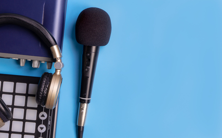 Music recording equipment on blue copy space Stock Photo