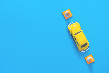 Poster style toy car for test school driving exam on blue Zdjęcie Seryjne
