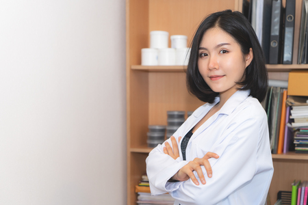 Beauty Cosmetic medical Female officer Lab worker Stock Photo