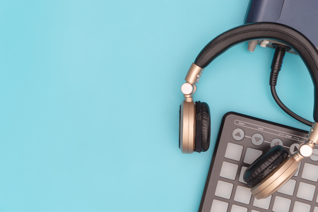 Music recording equipment on blue copy space Reklamní fotografie