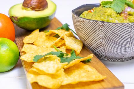 serve of Maxian avocado guacamole with chips