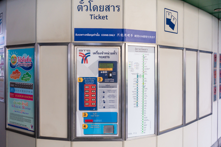 Bangkok, Thailand - August 7, 2018: BTS Bangkok skytrain Ticket vending machines. Editorial