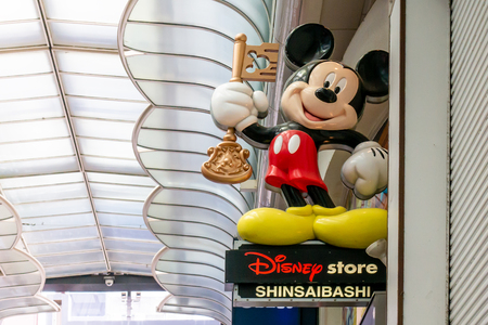 Osaka, Japan - May 26, 2018: Mickey Mouse signage on Disney Store Shinsaibashi.