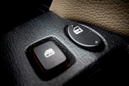 Car Windows and door locking switch closed up shot
