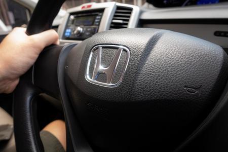Bangkok, Thailand - July 4, 2018: Honda Freed Black Steering Wheel with Honda logo.