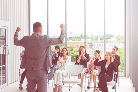 Strong Business Manager giving powerful conference Banco de Imagens - 107679914