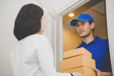 Delivery package to customer right at the door