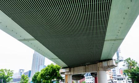 Large Transport Suspension bridge highway in Japan 写真素材