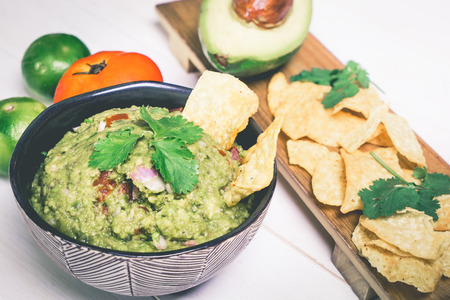 Mexican Guacamole serve with chip
