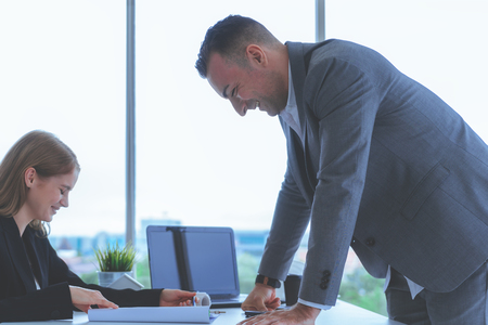 Business team brainstorming in office working space