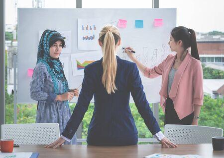 Female boss leader is listening to presentation by female worker Stok Fotoğraf