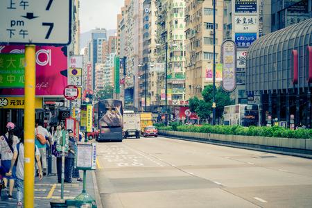 Hong Kong, Hong Kong - October 10, 2018: People are traveling in Nathan Road Shopping district. Editorial
