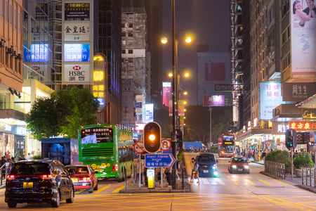 Hong Kong, Hong Kong - October 16, 2018: People are traveling in the night street of Nathan Road. Editorial