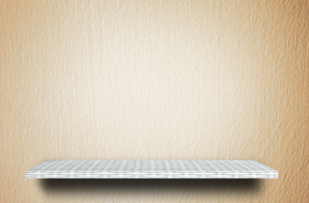 weaver wooden shelf counter cream cement  background Stock Photo