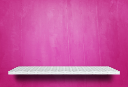 Empty wooden shelf on pink background for product display