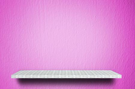 weaver wooden shelf counter on pink cement texture