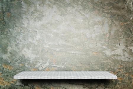weaver wooden shelf counter grunge cement background