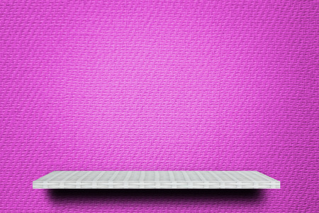weaver wooden shelf counter on pink paper texture