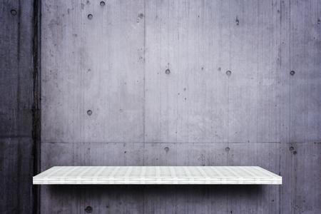 weaver wooden shelf counter cream cement background 写真素材