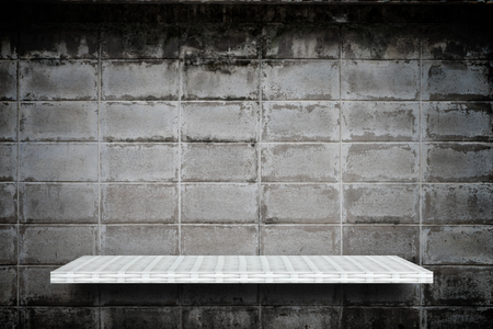 weaver wooden shelf counter grunge gray block cement background