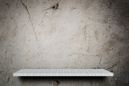 Empty shelf counter on gray grunge cement texture for product display Stok Fotoğraf