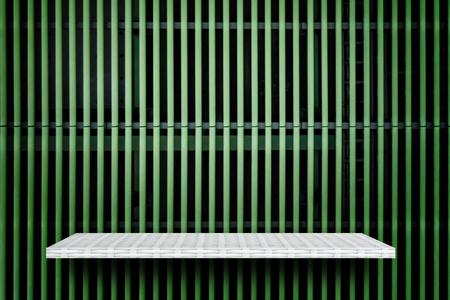 Empty weaver shelf on metal pipe line background