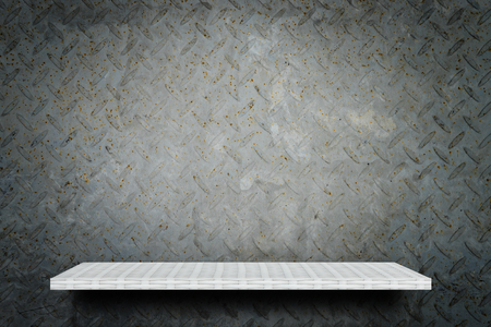 Empty weaver shelf counter on Gray grunge Metal background Stock Photo