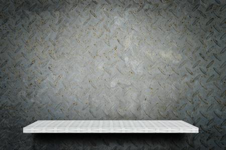 Empty weaver shelf counter on Gray grunge Metal background 写真素材