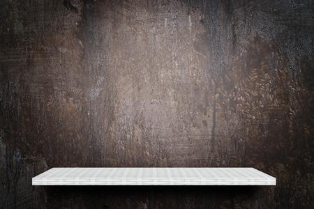 Empty weaver shelf counter on brown grunge background