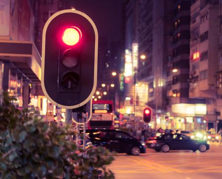 Red street light in Nathan Road Hong Kong