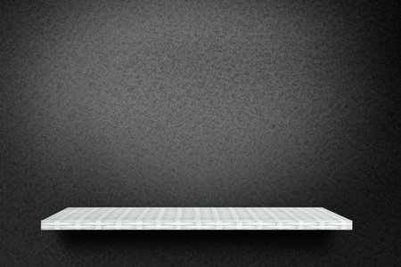 White Empty counter shelf on black background for product display