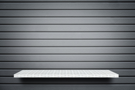 Empty white shelf on gray stripe background for product display