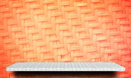 White Product display shelf on orange background