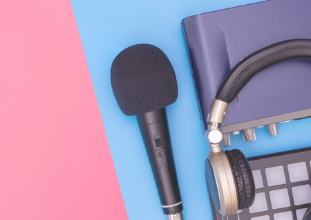 Music recording equipment on blue pink copy space Stok Fotoğraf