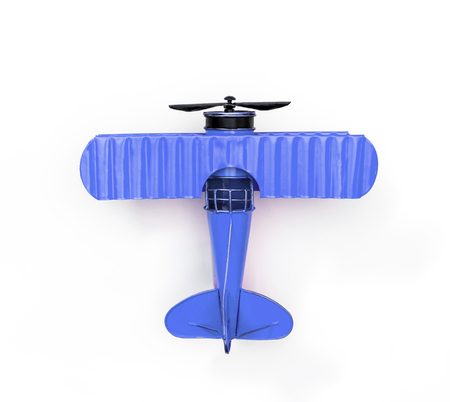 blue Metal toy plane isolated on white
