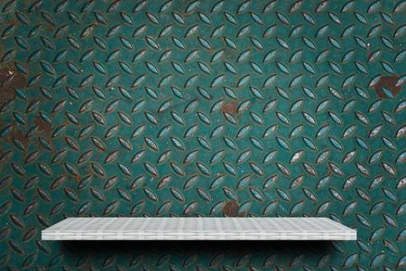 Empty white shelf on green metal background for product display Stock fotó