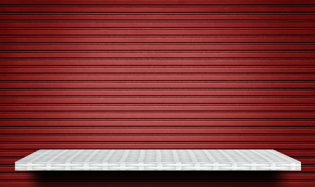white shelf on Red Metal Shut gate background for product display Stock fotó