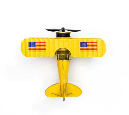 National Flag of America Metal toy plane isolated on white