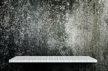 Empty Gray dark cement display table counter shelf background product display copy space for display of products. Stock Photo