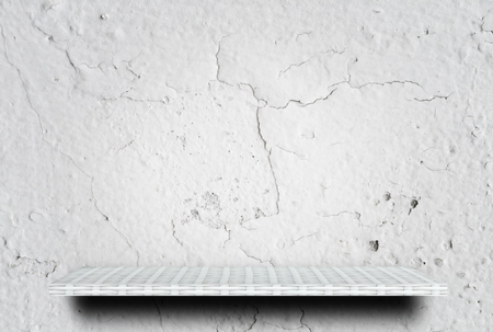 Empty white cracked cement display table counter shelf background product display copy space for display of products.