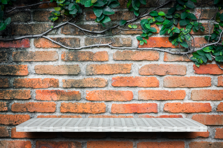 Empty white shelf on brick garden wall background for product display Stock Photo