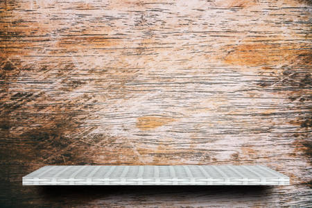 empty white shelf on wooden background for product display Stock fotó
