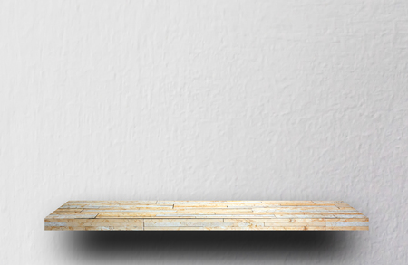 Empty white shelf on gray concrete background for product display Stock fotó
