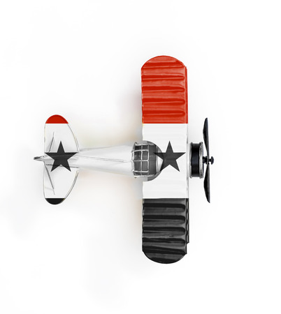 National Flag of Syria travel Metal toy plane isolated on white