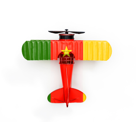 National Flag of Cameroon travel Metal toy plane isolated on white