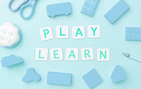 Play and Learn with toy and blue objects for child education concept