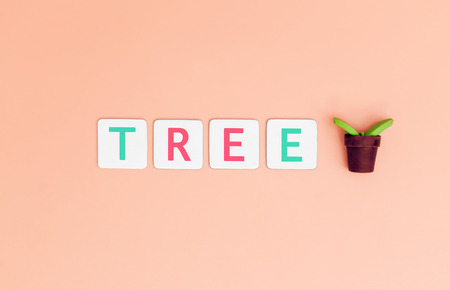Save Tree Letter with small plant tree for Ecology and Earth day concept.